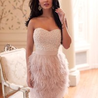 Sheath Cocktail Dress Feather Sweetheart Beaded Zipper Above Knee JY309