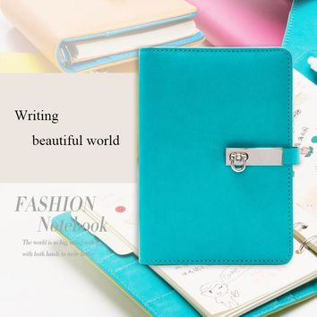 Candy Color A6 PU Leather Notebook Planner Organizer Loose Leaf Composition Book Gifts Spiral Business Notepad Office Supplies