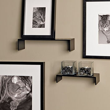nexxt Extense Thin Accent Shelves, 10 Inch and 14 Inch, Black, Set of 2
