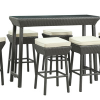 Outdoor Rattan Pub Table and Stools 7 Piece Set (Espresso & White)