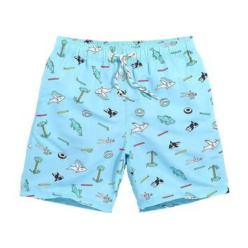 Shark Tank Men's Turquoise Casual Quick Dry Beach Board Shorts