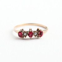 Antique Victorian 10k Gold Siumulated Ruby & Seed Pearl Ring - Size 7 Rosy Yellow Gold 1800s Fine Jewelry