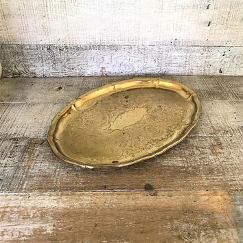 Brass Tray Ornate Etched Floral Design Brass Serving Tray Hollywood Regency Tray Gold Serving Tray Cocktail Tray Cottage Chic