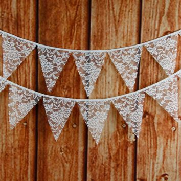 12 Flags 3.2M Burlap Flower Lace Banner Bunting Rustic Country Wedding Shower Christening Party Jute Banner Pennant Flags