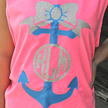 GLITTER Anchor Bow Comfort Colors Tank - Memorial Day - Labor Day - Independence Day - July 4th