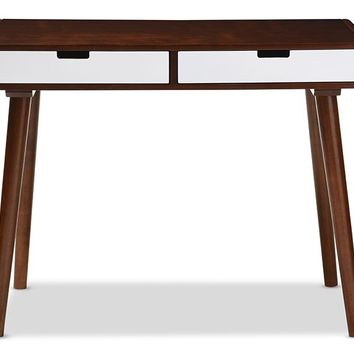 Baxton Studio Casarano Mid-century Modern Dark Walnut and White Two-tone Finish 2-drawer Wood Home Office Writing Desk Set of 1