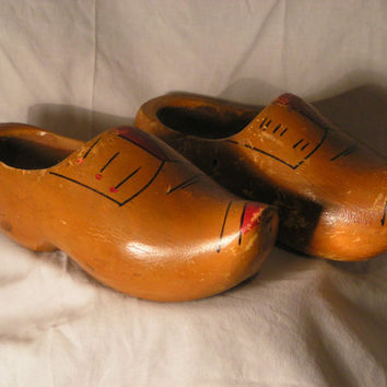 Vintage Hand Carved Wooden Shoes/Clogs- Great Decorative Item