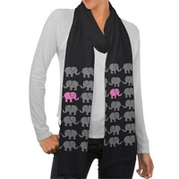 Cute GREY AND PINK ELEPHANTS Scarf