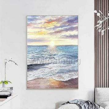Abstract painting oil paintings on canvas original art sea wave seascape painting extra large wall pictures Home Decor cuadros abstractos