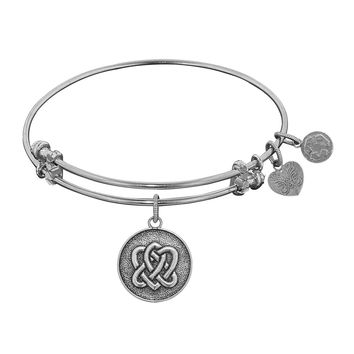 """Angelica Collection Antique Stipple Finish Brass """"eternal Life and Unity"""" Expandable Bangle"""