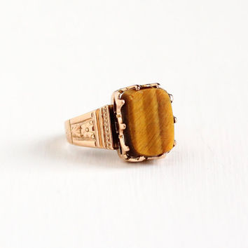 Antique Victorian 10k Rose Gold Tiger's Eye Ring - Late 1800s Size 5 1/4 Brown Chatoyant Gemstone Fine Flower Embossed Statement Jewelry