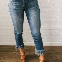 Faded Frayed Hem Cropped Jeans - Dark Wash