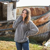 Appalachian Pile Pullover 1/4 Zip in Burnt Taupe by Southern Marsh