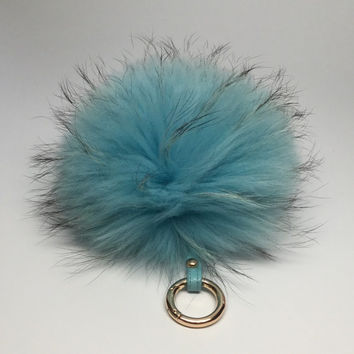 Pom-pom bag charm, fur pom pon keychain purse pendant in sky blue