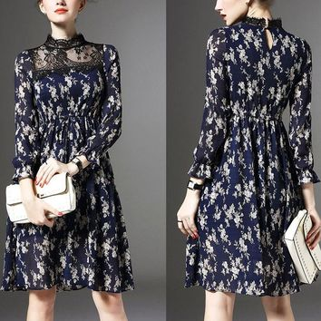 Autumn New Lace Stand Collar Dress Women Full Petal Sleeve  Mini Dress Sexy Floral dress