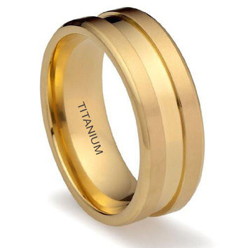 8MM 14K Gold Titanium Ring Wedding Band with Center Groove | FREE ENGRAVING