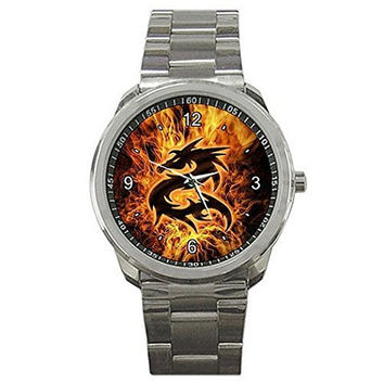 Flaming Dragon on a Silver Sports Watch