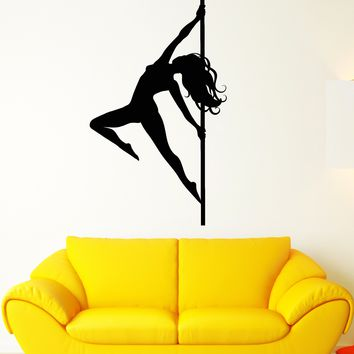 Vinyl Wall Decal Stripper Striptease Dancer Girl Pole Dance Stickers (2240ig)