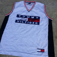 Vintage Tommy Hilfiger Basketball Jersey Colour Block Big Logo Spell Out Shirt Rare