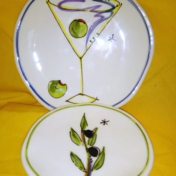 Vintage Julia Junkin Cocktail Snack Plate Set 4 Appetizer Plates 2 Olive Oil Dipping Saucers Tuscan Italian Hors d'oeuvre Set