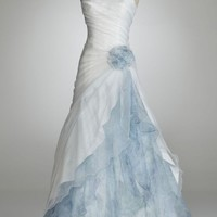 Buy Organza Split Front Gown with Floral Print Inset Style T3268  , from  for $158.25 only in Fashionwithme.com.