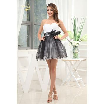 Jeanne Love Tulle Short Cocktail Dress White Black Zipper Back A-line Formal Wedding Party Dress Sexy Plus size JO002912