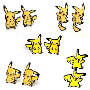 1pair Harajuku Alloy Enamel Cartoon Yellow Pikachu  Super Monster Go Pokeball Piercing Ear Studs Earrings Brincos BijouxKawaii Pokemon go  AT_89_9