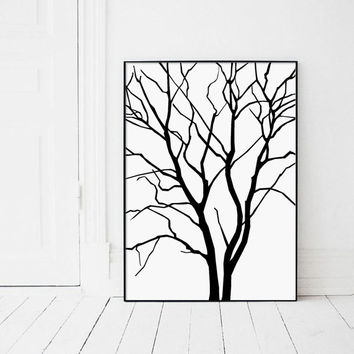Scandinavian Print, Scandinavian Wall Art, Scandinavian Poster, Black and White Print, Modern Poster, Nordic Design, Black Tree on White
