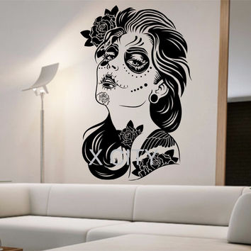 Day Of The Dead Wall Decal Roses Girl Vinyl Sticker Art Decor Home Bedroom Design Mural