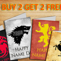 Game of Thrones card Set of 4 Printable cards Targaryen Stark Lannister Baratheon Happy Nameday Card Winter is comming card BUY 2 GET 2 FREE