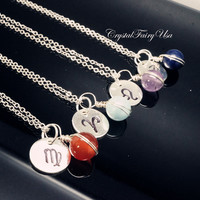 Birthstone Necklace | Zodiac Necklace |  Hand Stamped Zodiac Symbol Charm Necklace   Astrology Zodiac Jewelry