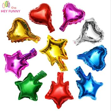 HEY FUNNY 50 pcs/pack 5 inch Foil Heart Balloon 9 Colors Star Shape Balloons Birthday/New Year/Party Wedding Decoration Balloon