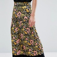 Warehouse Floral Print Contrast Maxi Skirt at asos.com
