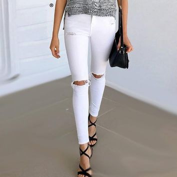 High Waisted Ripped Jean Jeggings