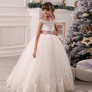 Flower Girl Dresses For Wedding Lace Appliques Beads Puffy Girls Pageant Gowns Hollow Lace Up Bow Sash Birthday Dresses