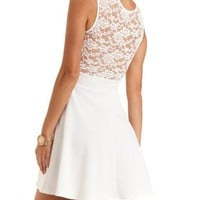 Embroidered Lace Yoke Skater Dress by Charlotte Russe - White