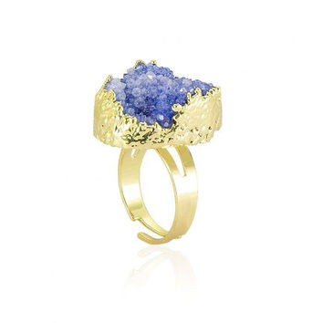Sapphire Crystal Cluster Ring
