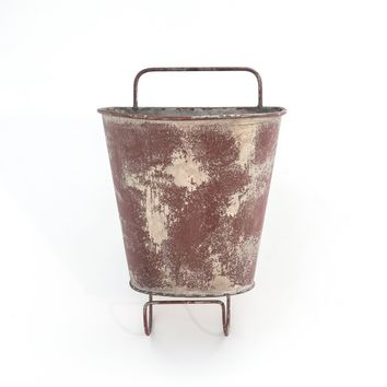 RED GALVANIZED HANGING PLANTER