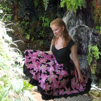 Full circle wrap skirt with beautiful pink flowers. style custom made all size