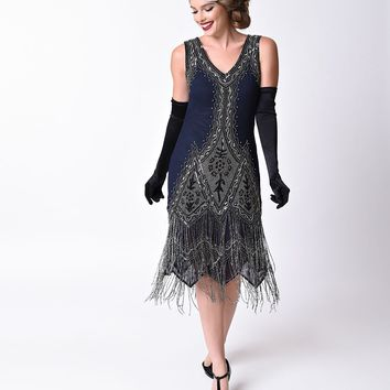 Unique Vintage 1920s Style Navy Blue Embroidered Somerset Flapper Dress