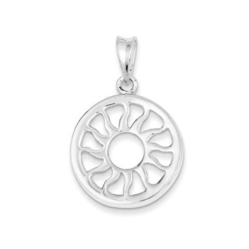 Sterling Silver 24mm Polished Sun Pendant