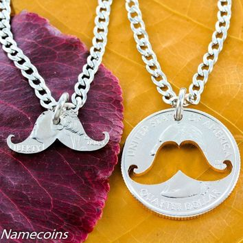Mustache Necklace Inside and Outside Relationship Necklace hand cut coin by Namecoins