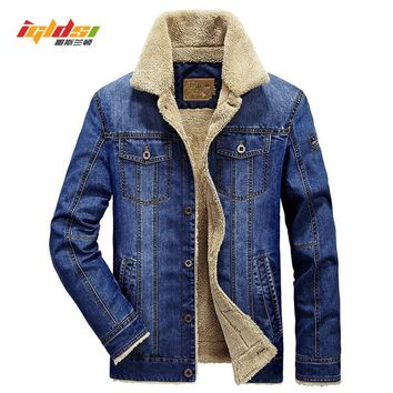 Men Jacket and Xoats Brand Clothing Denim Jacket Fashion Men's jeans jacket Thick Warm Winter Outwear Male Cowboy Size:M-4XL