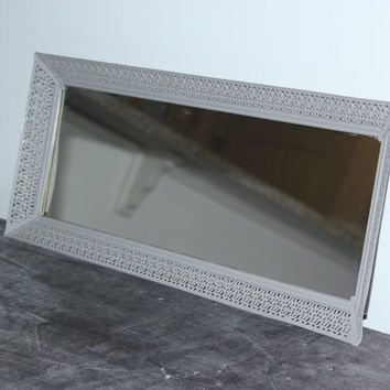 Long grey rectangular mirrored vanity tray - Painted vanity tray, upcycled vanity tray, vintage metal vanity tray, perfume tray