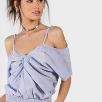 Twist Front Slip Crop Blouse Blue Striped Tops Women Cute Smocked Hem Tops Cold Shoulder Sexy Cotton Blouse