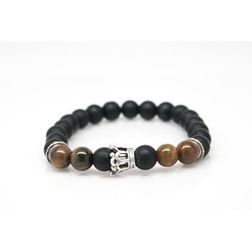 Black Onyx and Tigers Eye Stone Unisex Beaded Bracelet With Crown Charm