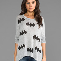 Lauren Moshi Deb Mini Batman Asymmetrical Sweater in Gray