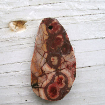 Bird's Eye Rhyolite - drilled natural untreated pendant stone, colorful, DIY jewelry, wire wrappings stones, pendant supply, OOAK rocks
