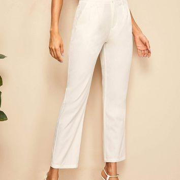 Straight Leg Solid Tailored Pants