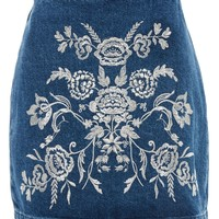 MOTO Embroidered A-Line Skirt - Denim - Clothing